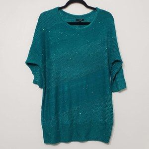 NWT APT 9 Green Shimmer Dolman Style Top, sz L